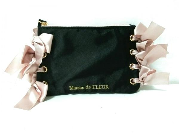 Maison de FLEUR(メゾンドフルール) ポーチ美品  黒×ベージュ 刺繍/リボン サテン