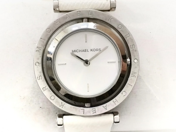 マイケルコース 腕時計 MK-2524 レディース 回転ケース/ラインストーン シルバー