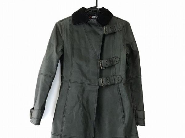 モルガン コート サイズ1 S レディース ダークグリーン×黒 レザー/冬物