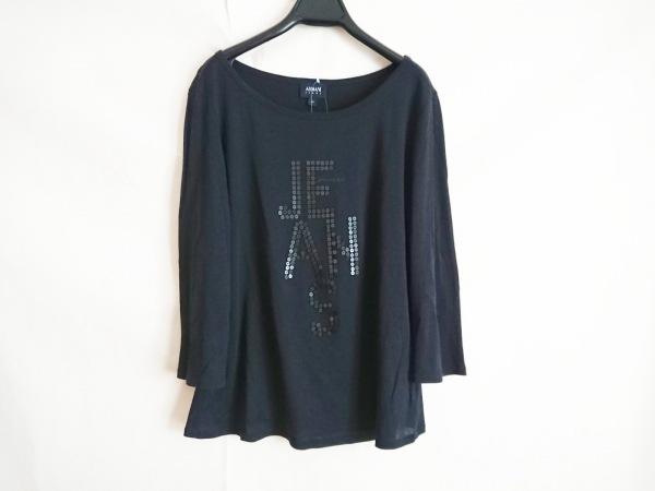 ARMANIJEANS(アルマーニジーンズ) 七分袖Tシャツ メンズ美品  黒 スパンコール