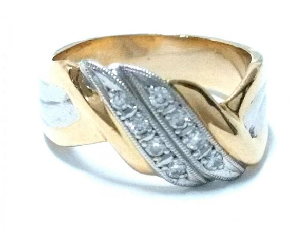 ノーブランド リング美品  K18×Pt850×ダイヤモンド クリア 総重量6.1g/012刻印