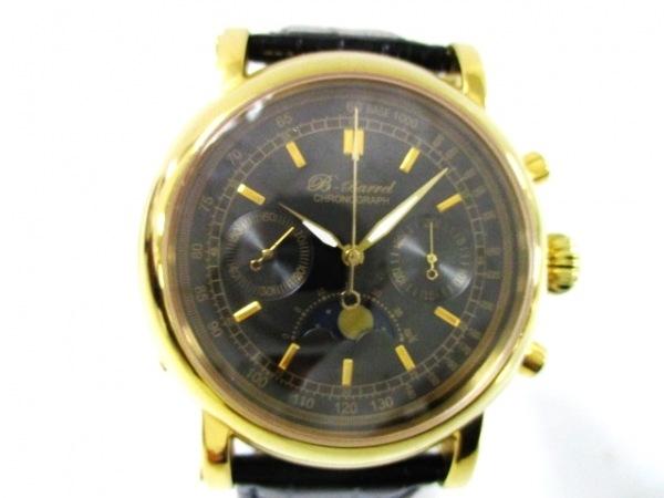 ビーバレル 腕時計 BB-0035 メンズ クロノグラフ/裏スケ/ムーンフェイズ/革ベルト 黒