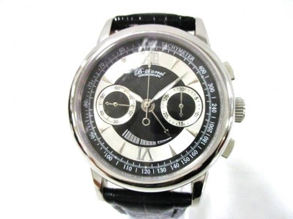 ビーバレル 腕時計 BB-0031 メンズ クロノグラフ/裏スケ/パワーリザーブ/革ベルト
