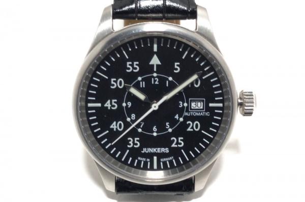 JUNKERS(ユンカース) 腕時計 JU52 メンズ 裏スケ/社外革ベルト 黒