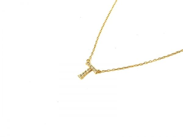 アーカー ネックレス美品  K18YG×ダイヤモンド 10Pダイヤ/0.04カラット/イニシャルT
