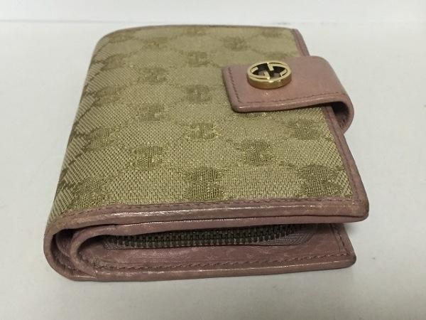 GUCCI(グッチ) 2つ折り財布 GG柄 337023 ベージュ×ピンク ジャガード×レザー