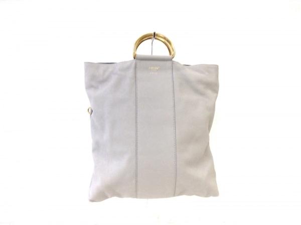 ポップコーン ハンドバッグ ライトグレー×ゴールド レザー×金属素材