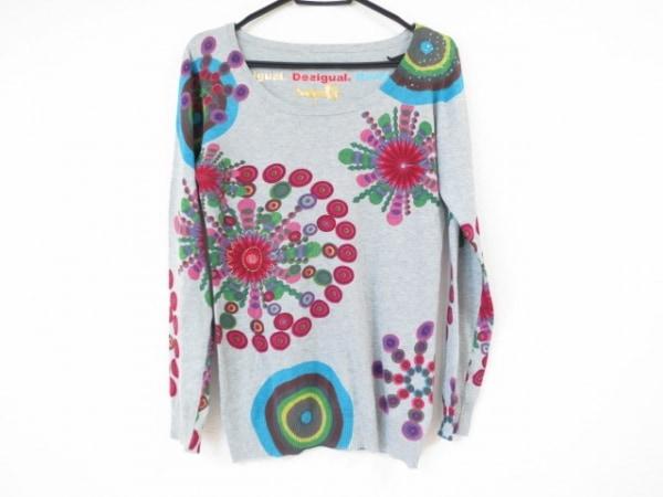 Desigual(デシグアル) 長袖セーター サイズL レディース美品  グレー×レッド×マルチ