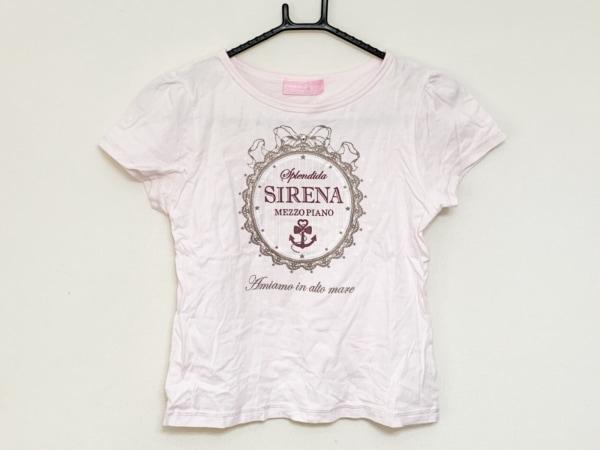 メゾピアノ 半袖Tシャツ サイズS レディース ピンク×カーキ 子供服/ラインストーン
