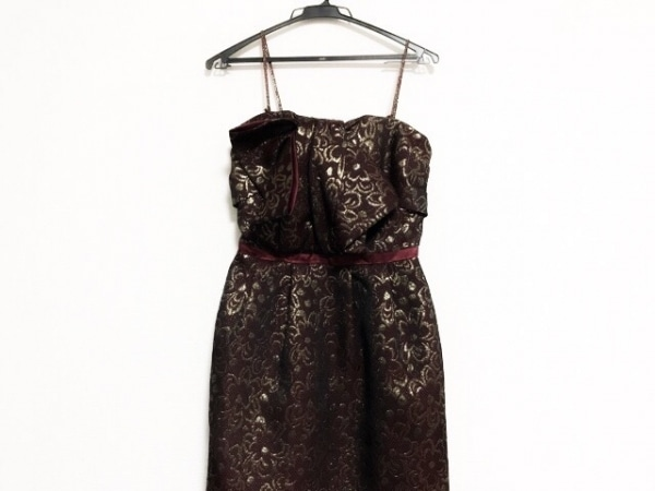 イランイラン ドレス サイズS レディース美品  ボルドー×黒×ゴールド リボン/花柄