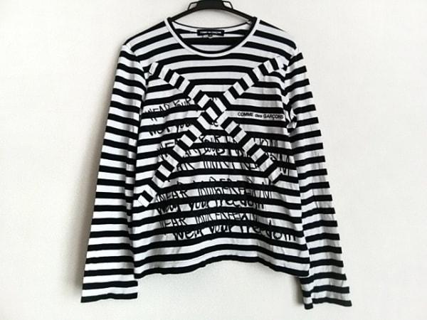 COMMEdesGARCONS(コムデギャルソン) 長袖Tシャツ サイズL レディース 白×黒 ボーダー