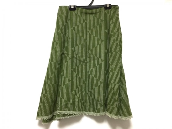 ミナペルホネン スカート サイズ38 M レディース グリーン×アイボリー