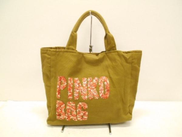 PINKO(ピンコ) トートバッグ美品  カーキ スパンコール/ビーズ キャンバス