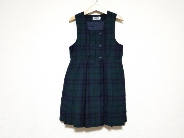 ミキハウス ワンピース サイズ120 レディース美品  黒×ネイビー×カーキ 子供服