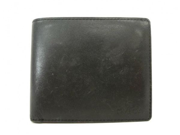 OMEGA(オメガ) 2つ折り財布 黒 レザー