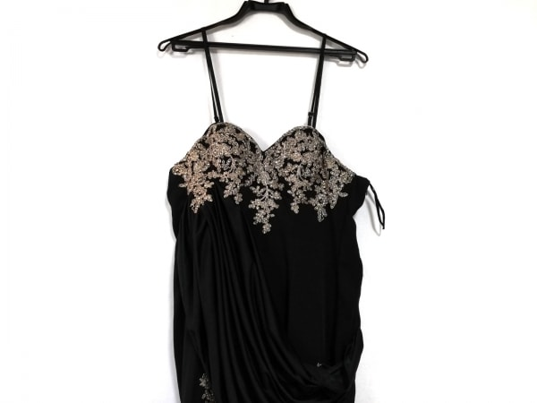 ジーンマクレーン ドレス サイズ9 M レディース美品  黒×ゴールド ラインストーン