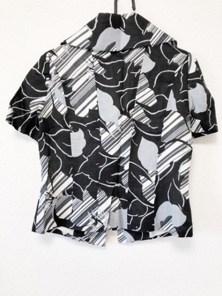 mila schon(ミラショーン) ジャケット レディース 黒×白×グレー 花柄/肩パッド