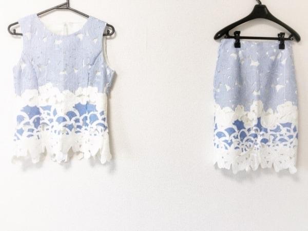 チェリーアン スカートセットアップ サイズS レディース美品  白×ライトブルー