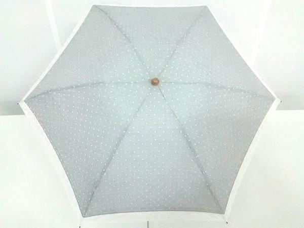 Afternoon Tea(アフタヌーンティー) 折りたたみ傘 ライトグレー×白 レース/ドット柄