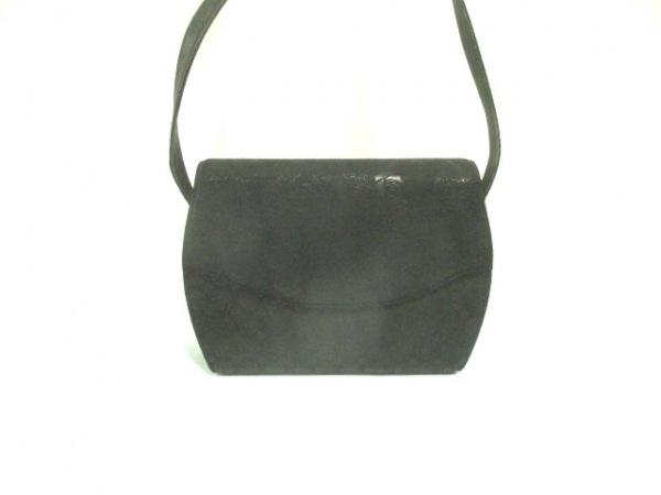印傳屋(インデンヤ) ショルダーバッグ 黒 フラワー 化学繊維×レザー
