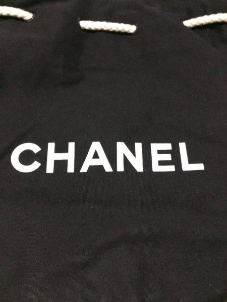 0e6eebd71583 ... CHANEL(シャネル) リュックサック新品同様 - 黒 巾着型/ノベルティ キャンバス