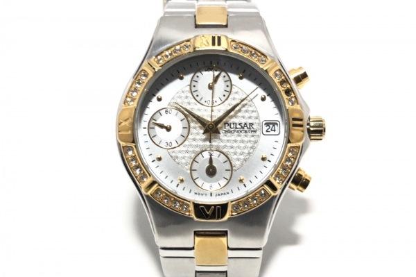 PULSAR(パルサー) 腕時計 YM92-X123 レディース クロノグラフ/ラインストーンベゼル
