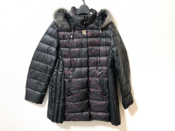 BALMAIN(バルマン) ダウンコート サイズL レディース美品  黒×ボルドー 冬物