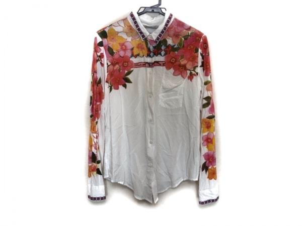 デシグアル 長袖シャツブラウス サイズM レディース美品  白×レッド×マルチ 花柄