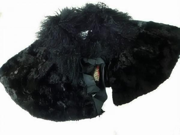 フランクウィーンセンス ストール(ショール) 40美品  黒 ベロア/ファー