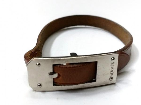 HERMES(エルメス) ブレスレット アピケリー レザー×金属素材 ブラウン×シルバー