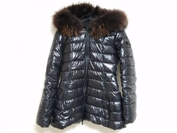 タトラス ダウンコート サイズ01 S レディース 黒×ダークブラウン ファー/冬物