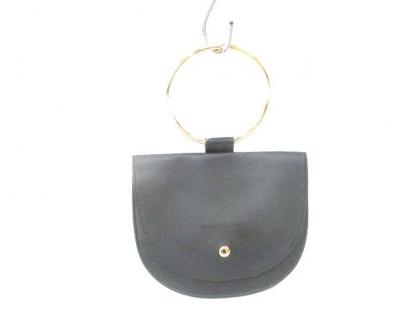 メリービアンコ ハンドバッグ美品  黒×ゴールド ミニバッグ 合皮×金属素材