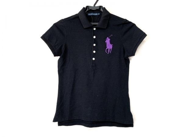 RalphLauren(ラルフローレン) 半袖ポロシャツ サイズM レディース 黒×パープル 刺繍