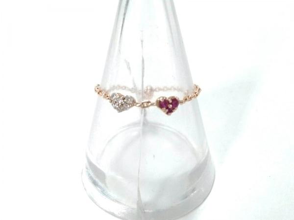 セイレーンアズーロ リング美品  K18PG×ダイヤモンド×カラーストーン ピンク