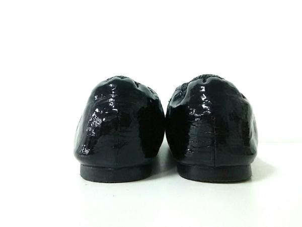 ルジュール フラットシューズ M レディース美品  黒 リボン エナメル(レザー)
