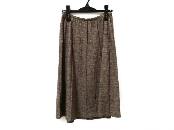 ヨシエイナバ スカート サイズ9 M レディース美品  ダークブラウン×ベージュ