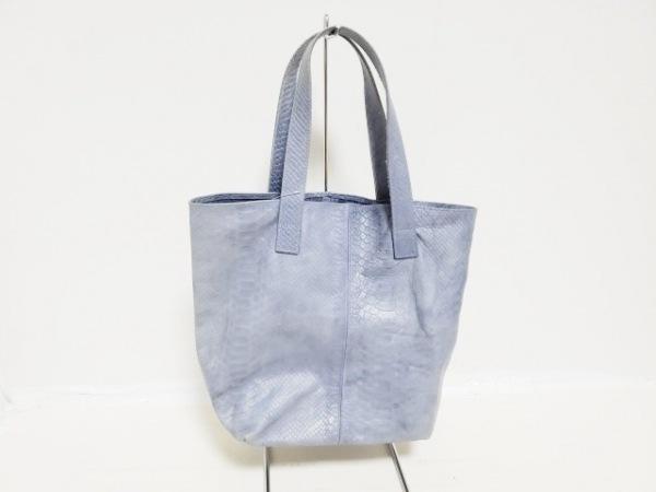Mika Sarolea(ミカサロレア) トートバッグ ブルー 型押し加工 合皮