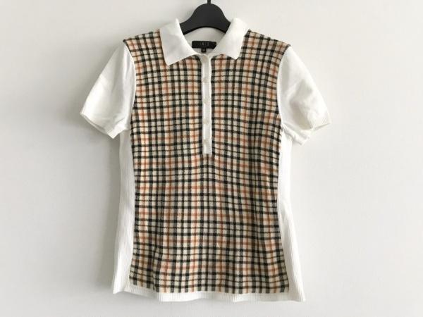 DAKS(ダックス) 半袖ポロシャツ サイズ38 L レディース美品  白×ベージュ×マルチ