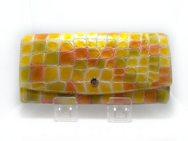 COCCO FIORE(コッコフィオーレ) 長財布美品  イエロー×オレンジ×マルチ 型押し加工