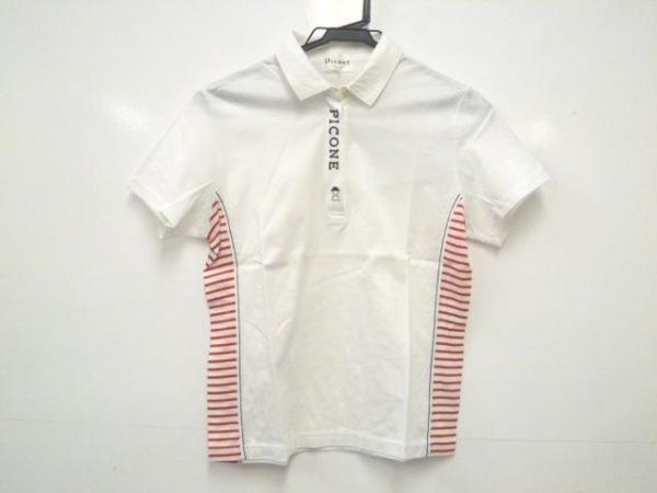 PICONE(ピッコーネ) 半袖ポロシャツ サイズ2 M レディース 白×レッド×黒 ボーダー