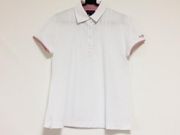 バーバリーゴルフ 半袖ポロシャツ サイズL レディース美品  白×レッド プリーツ