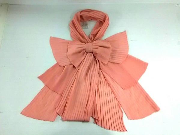 ノコオーノ ストール(ショール)美品  ピンク プリーツ/リボン ポリエステル