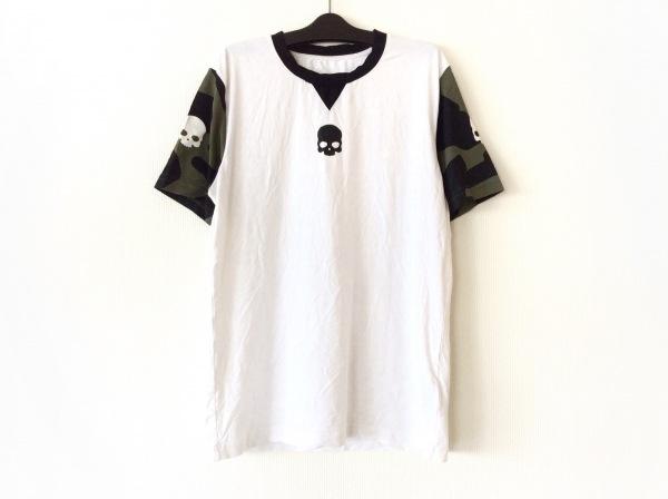HYDROGEN(ハイドロゲン) 半袖Tシャツ サイズM メンズ美品  白×黒×ダークグリーン