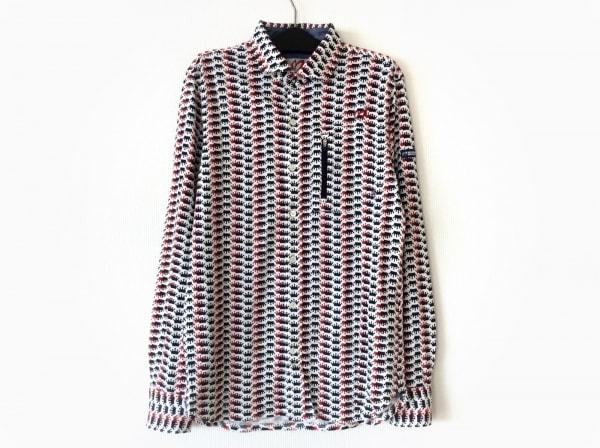 マスターバニーエディション 長袖シャツ サイズ4 XL メンズ 白×レッド×マルチ
