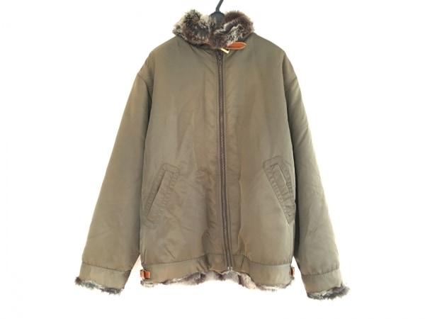 SWAGGER(スワッガー) コート サイズXL メンズ カーキ×ブラウン 冬物/フェイクファー