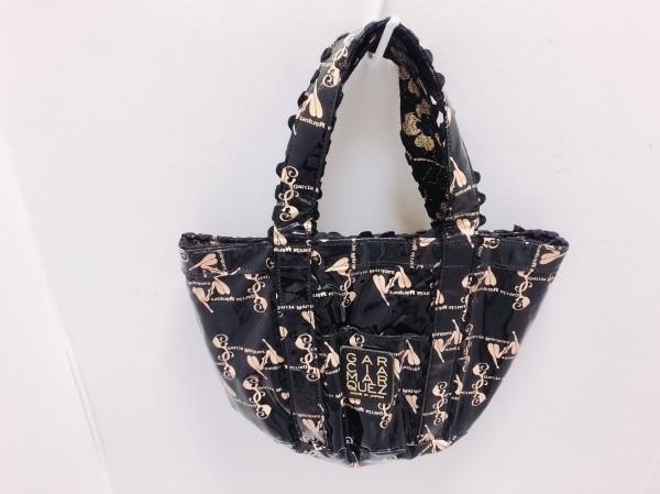 ガルシアマルケス トートバッグ美品  黒×ピンク ラメ PVC(塩化ビニール)×化学繊維