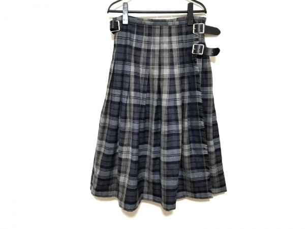 O'NEIL(オニール) 巻きスカート サイズS レディース美品  グレー×ネイビー×黒