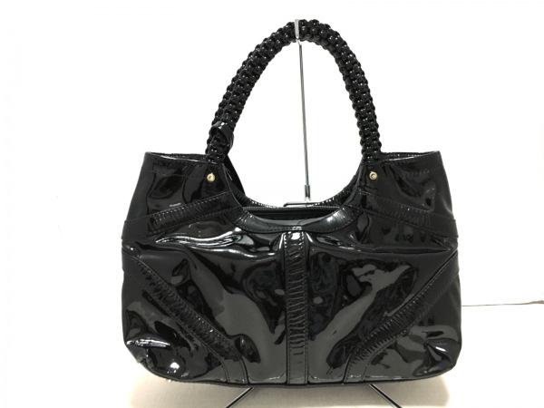 DISSONA(ディソーナ) ハンドバッグ美品  黒 エナメル(レザー)