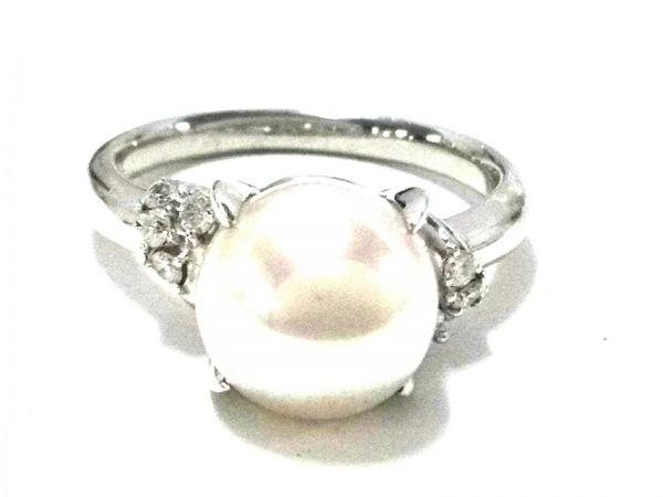 ノーブランド リング美品  Pt900×パール×ダイヤモンド ホワイト×クリア