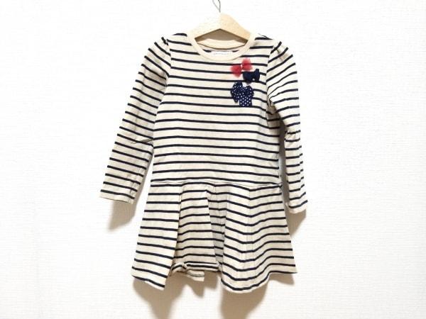 ミキハウス ワンピース サイズ110 レディース美品  ベージュ×ネイビー 子供服